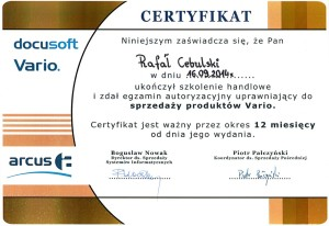 arcus certyfikat
