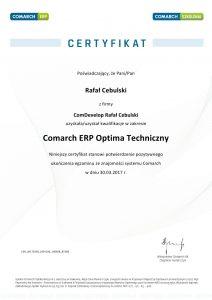 Certyfikat Comarch ERP Optima Techniczny