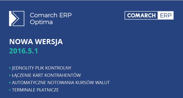 comarch erp optima nowa wersja 2016.5.1