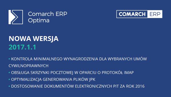 Comarch ERP Optima nowa wersja 2017.1.1
