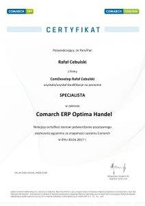 Certyfikat Comarch ERP Optima Handel
