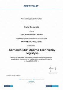 Comarch ERP Optima certyfikat techniczny logistyka