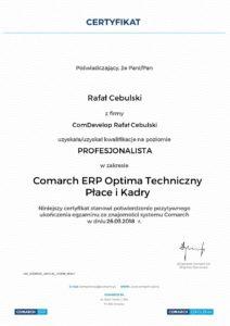 Comarch ERP Optima certyfikat techniczny płace i kadry