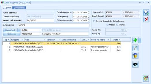 Comarch ERP Optima zapis księgowy